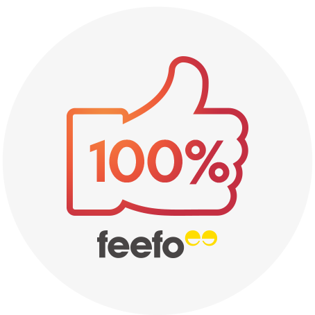 100% positive reviews on feefo